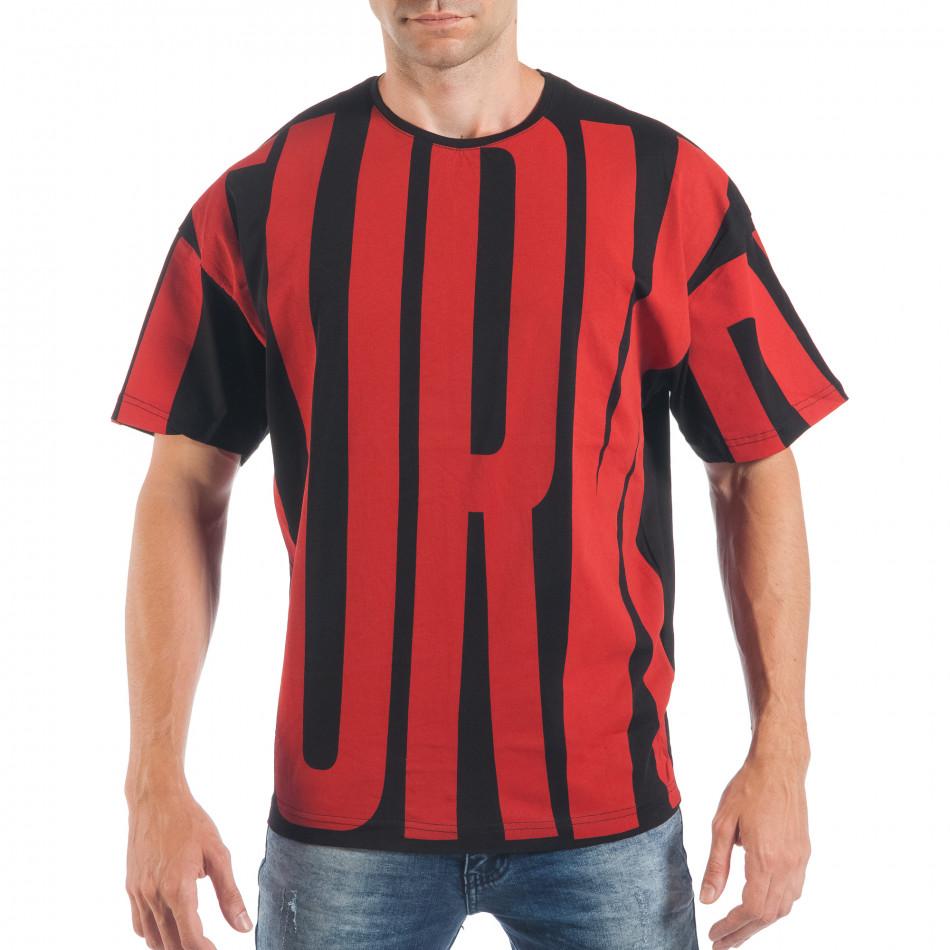 Tricou pentru bărbați în negru și roșu tsf250518-5