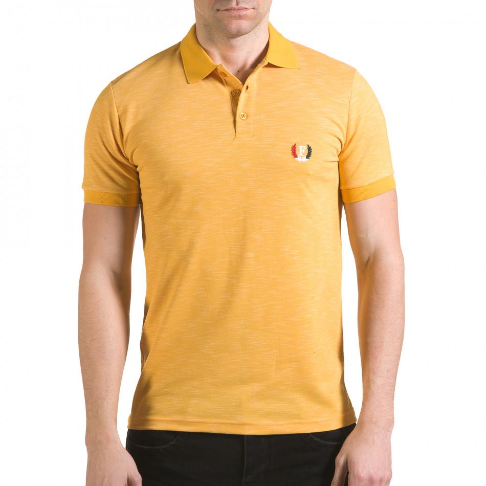 Tricou cu guler bărbați Franklin galben il170216-40