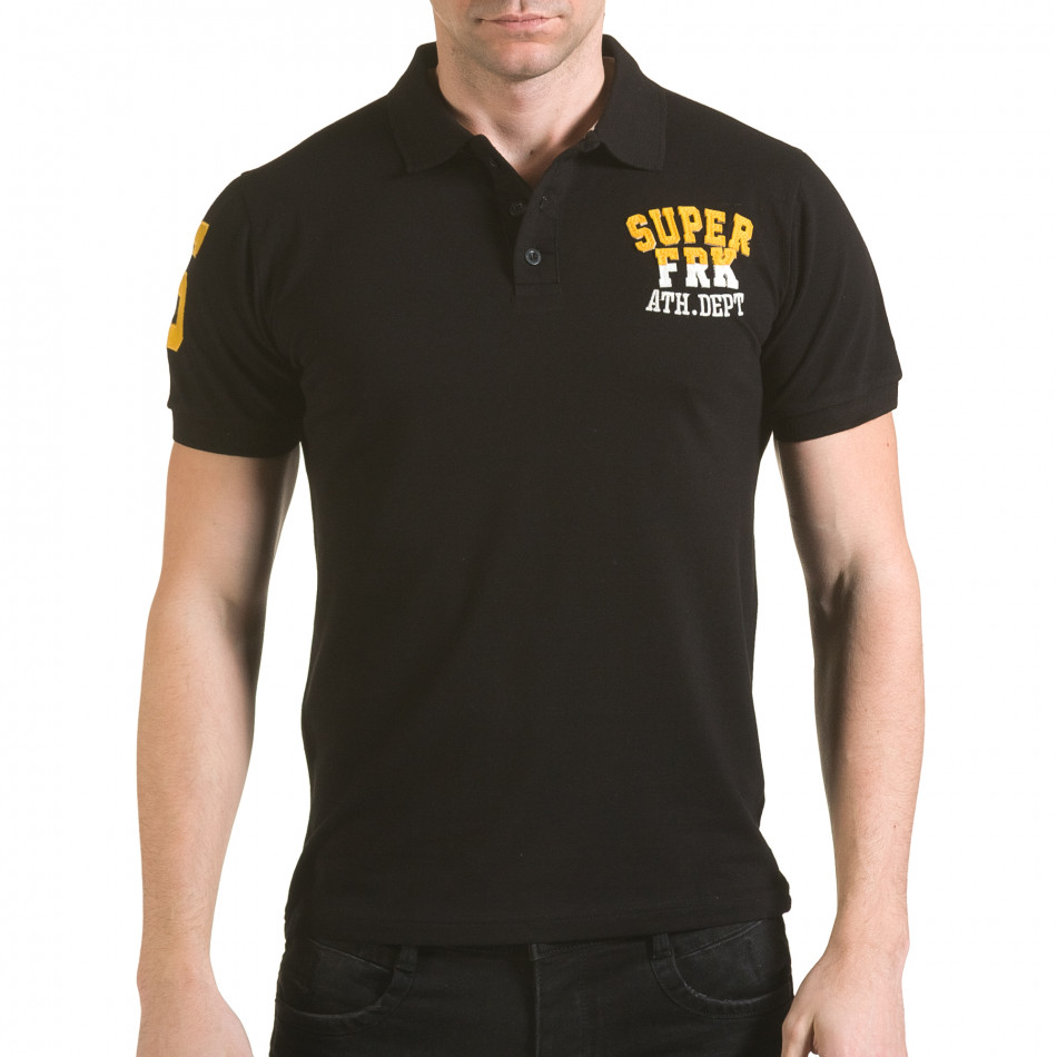 Tricou cu guler bărbați Franklin negru il170216-25