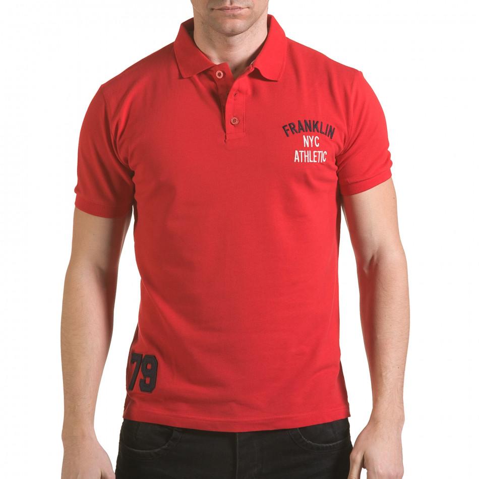 Tricou cu guler bărbați Franklin roșu il170216-29