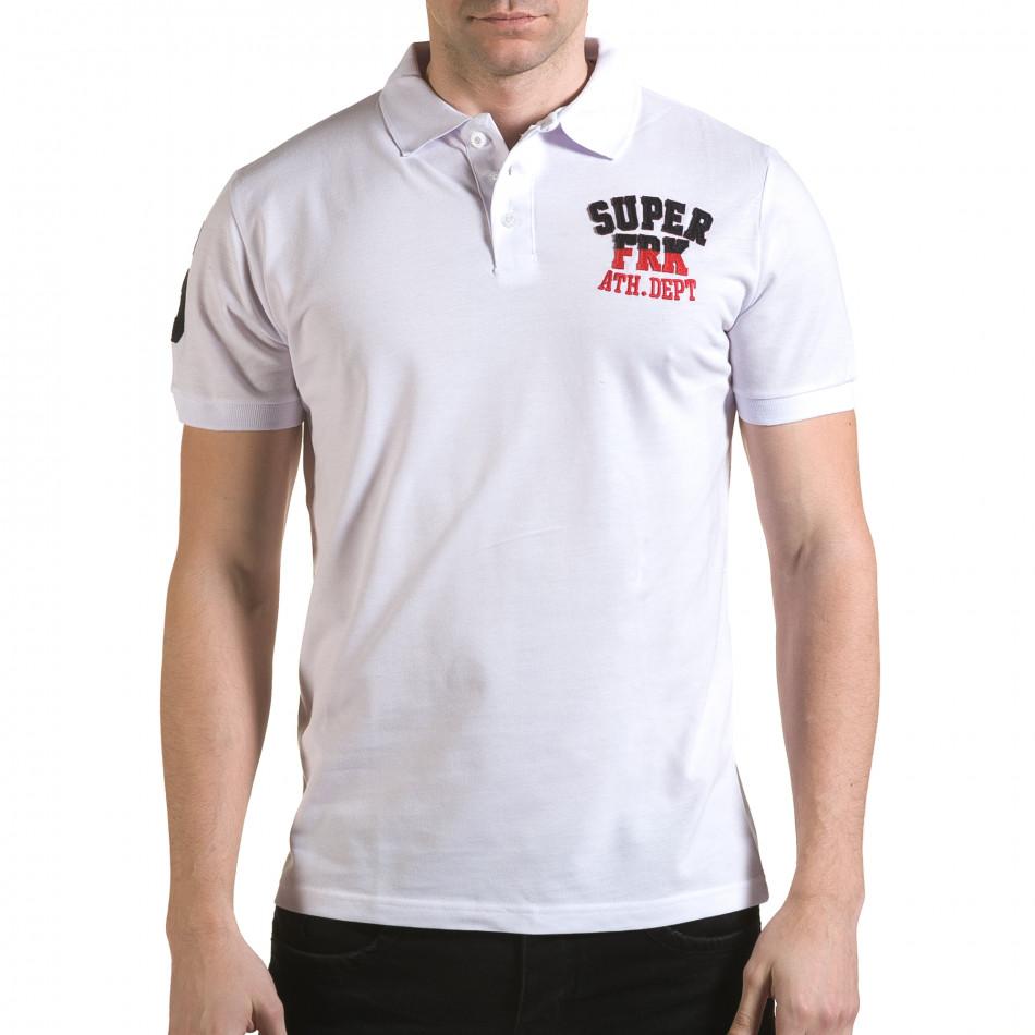 Tricou cu guler bărbați Franklin alb il170216-27