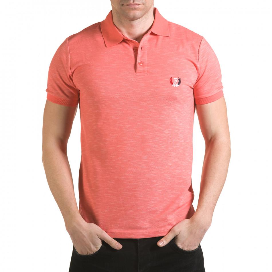 Tricou cu guler bărbați Franklin roz il170216-39