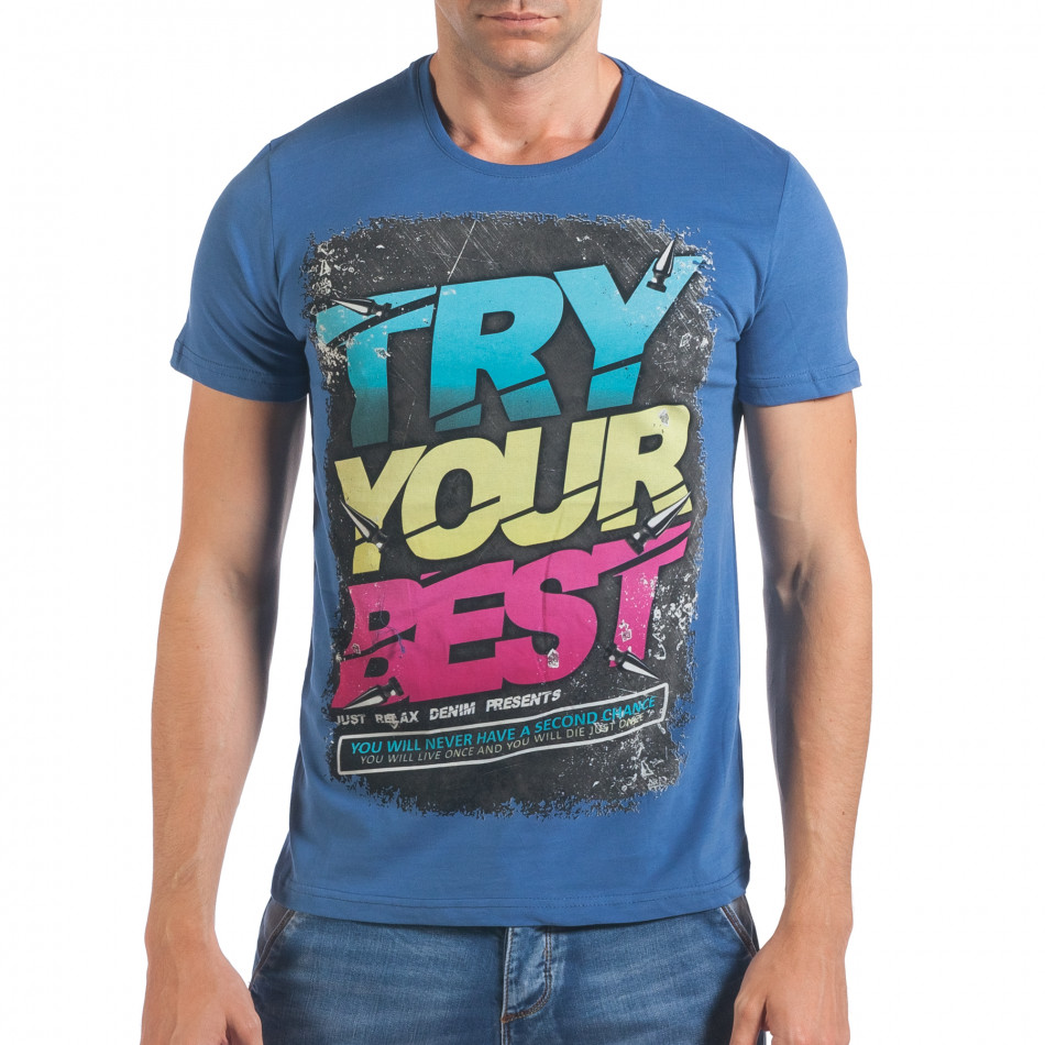 Tricou bărbați Just Relax albastru il060616-19