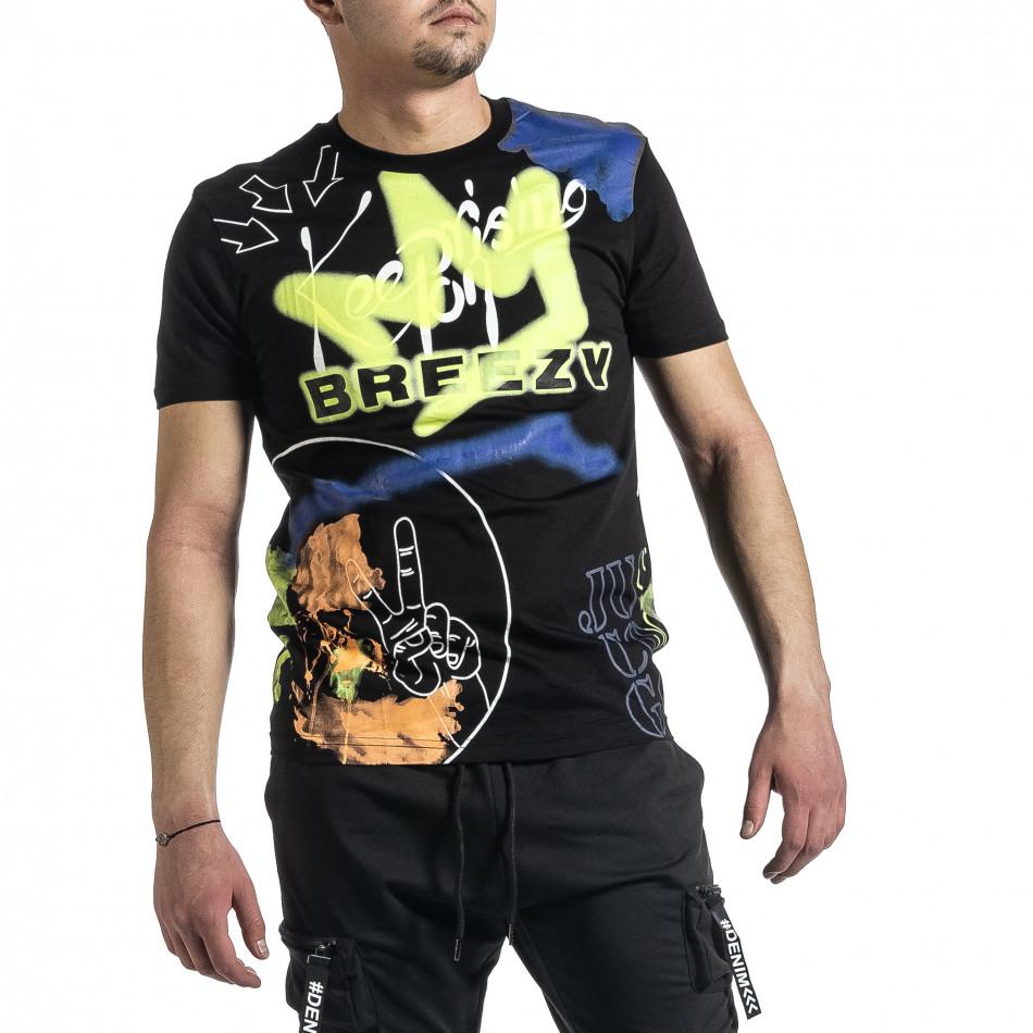 Tricou bărbați Breezy negru tr270221-37
