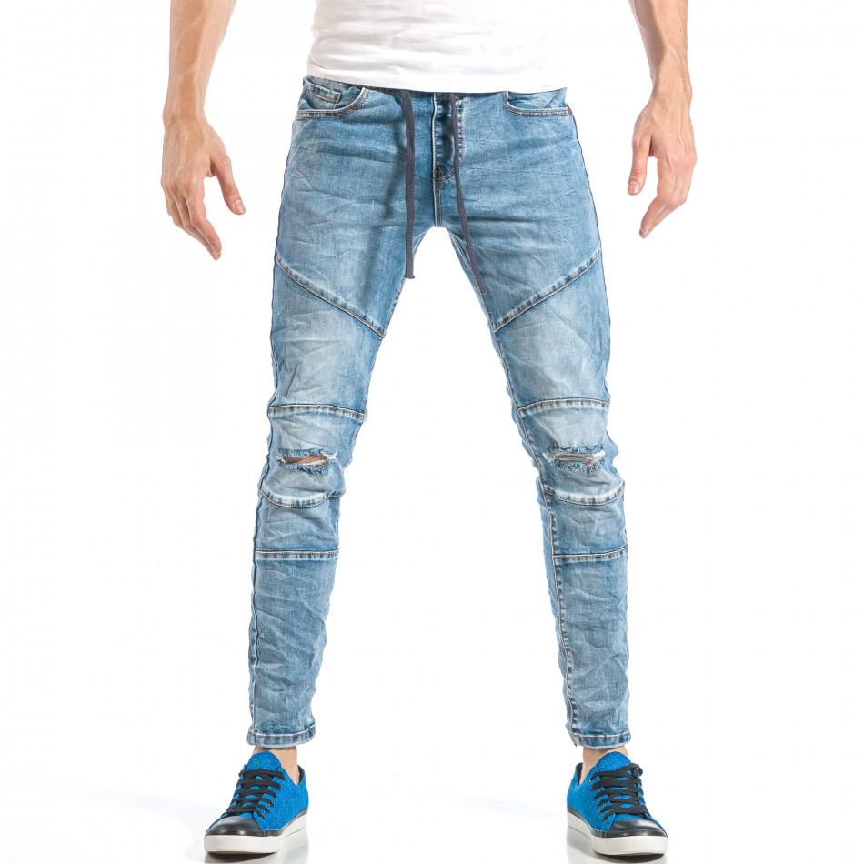 Blugi pentru bărbați albaștri cu elastic it040518-5