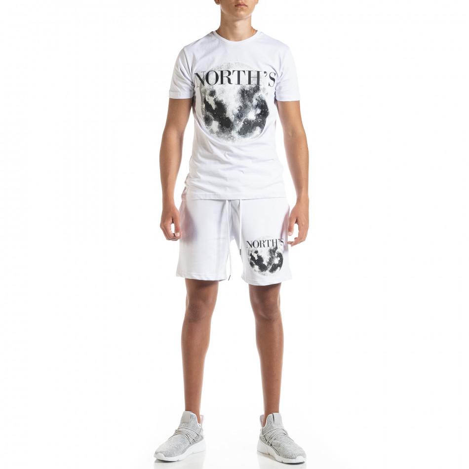 Set sportiv alb pentru bărbați Moon tr010720-1