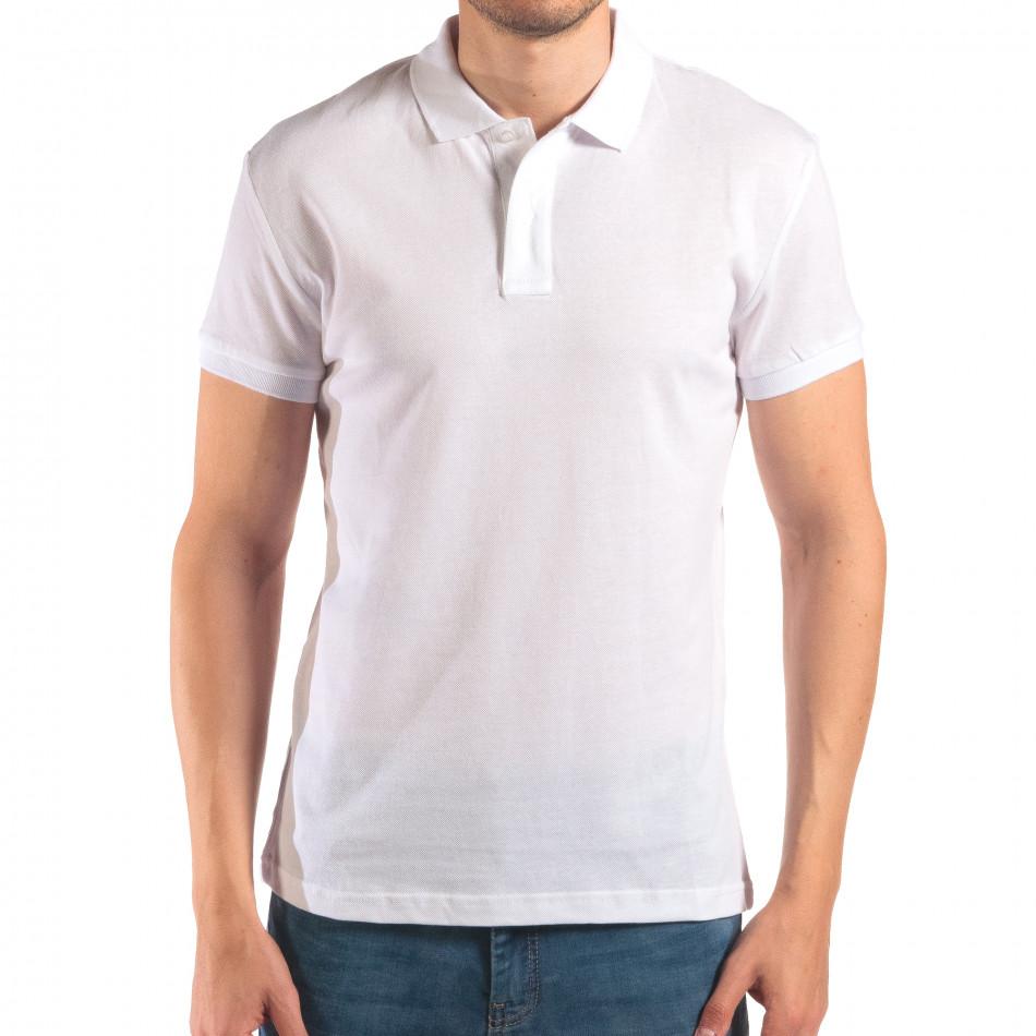 Tricou cu guler bărbați Bruno Leoni alb it150616-39