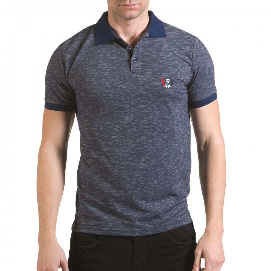 Tricou cu guler bărbați Franklin albastru il170216-41