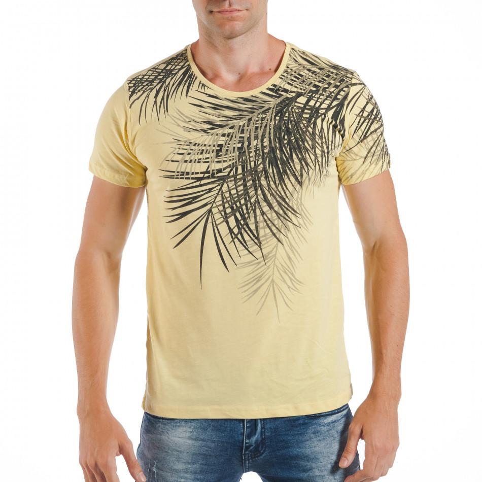 Tricou de bărbați galben cu imprimeu frunze de palm tsf250518-26