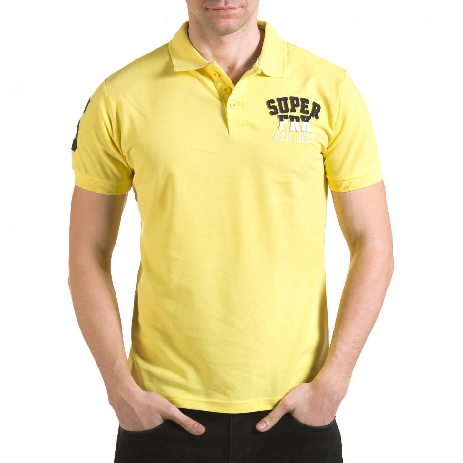Tricou cu guler bărbați Franklin galben il170216-22