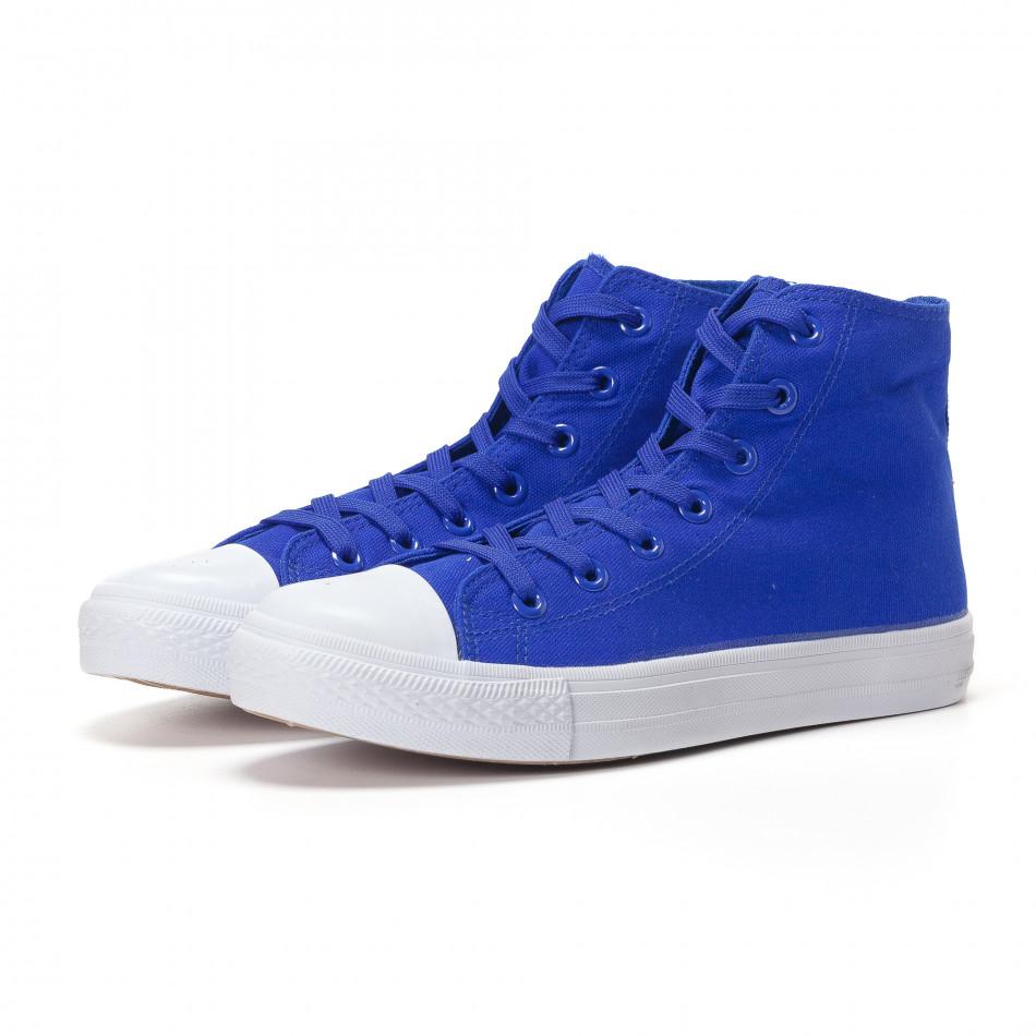 Teniși înalți albaștri cu talpă albă pentru bărbați it250118-5