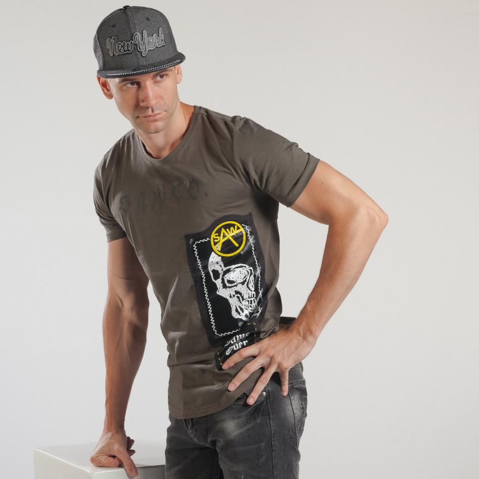Tricou verde tip Rocker de bărbați cu imprimeu tsf250518-20