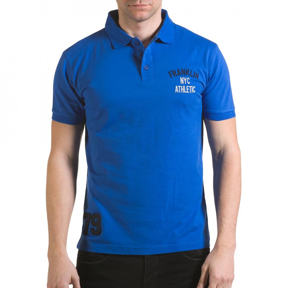 Tricou cu guler bărbați Franklin albastru il170216-35