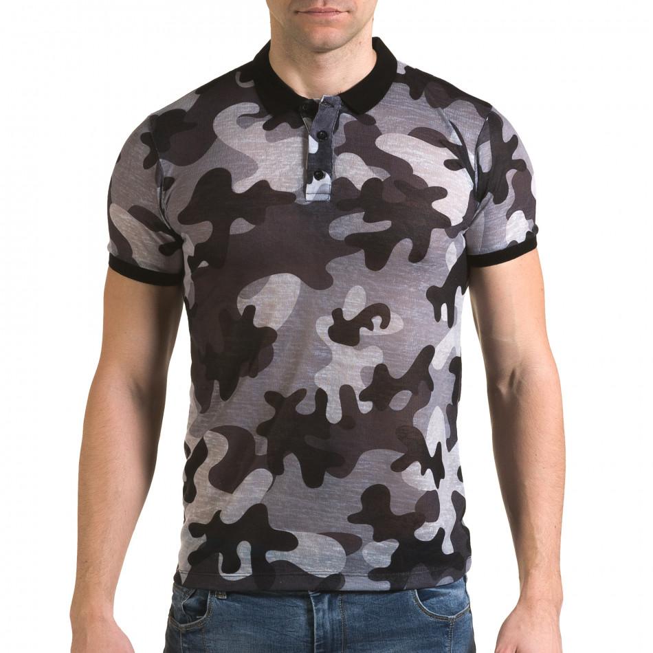 Tricou cu guler bărbați Lagos camuflaj il120216-22