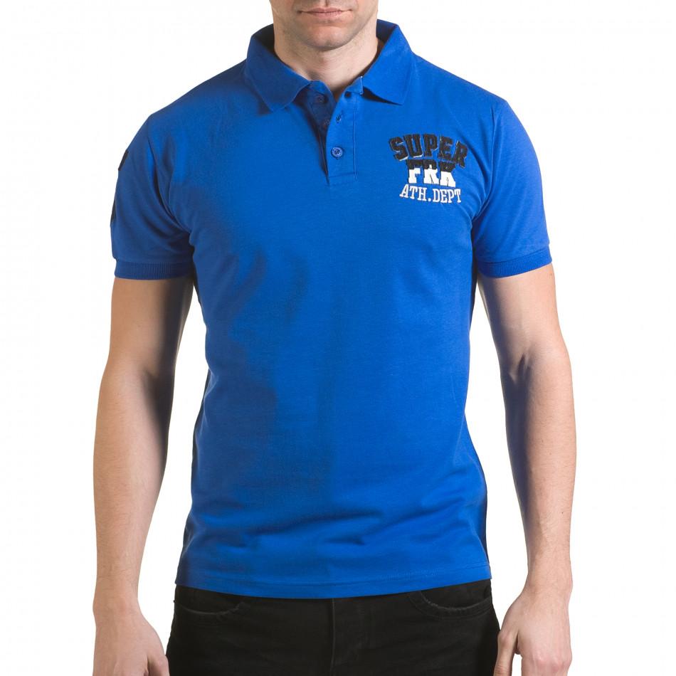 Tricou cu guler bărbați Franklin albastru il170216-21