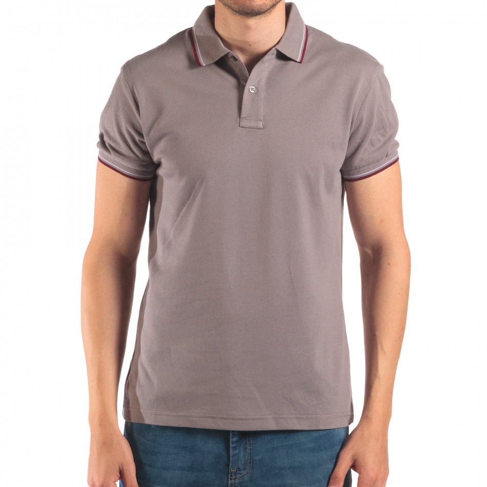 Tricou cu guler bărbați Bruno Leoni gri it150616-33