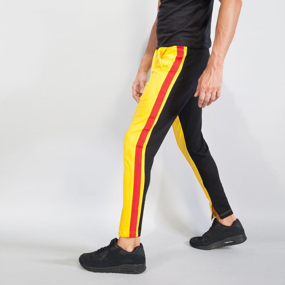 Jogger pentru bărbați în galben și negru cu benzi și fermoare it240818-98
