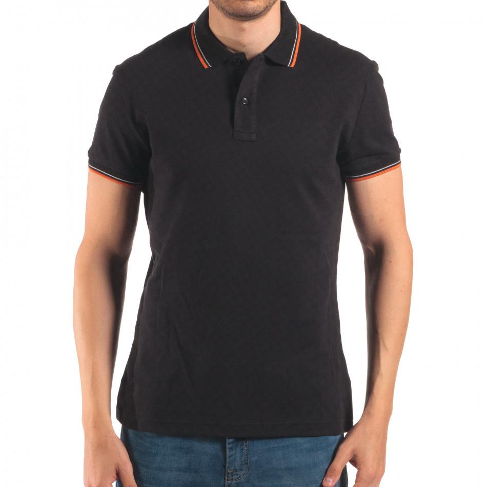 Tricou cu guler bărbați Bruno Leoni negru it150616-32