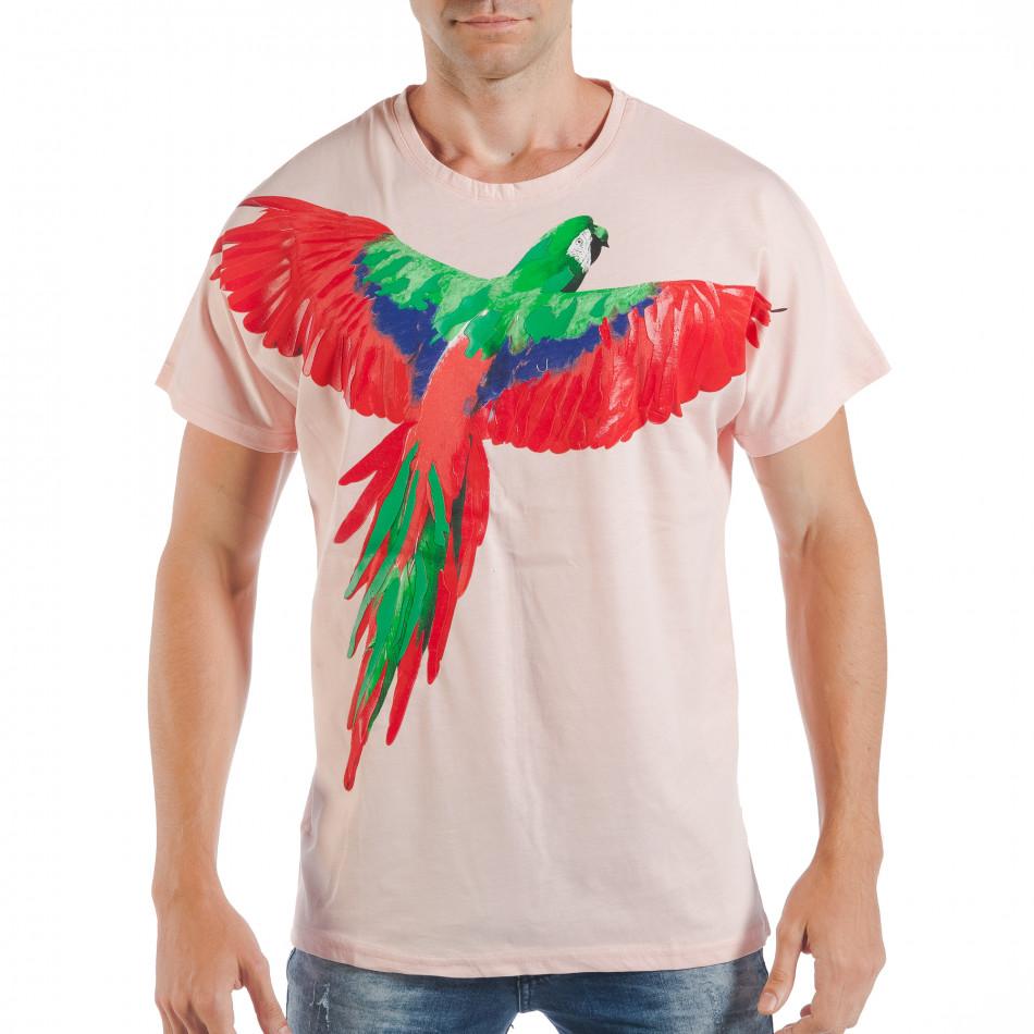 Tricou roz pentru bărbați cu imprimeu papagal tsf250518-7