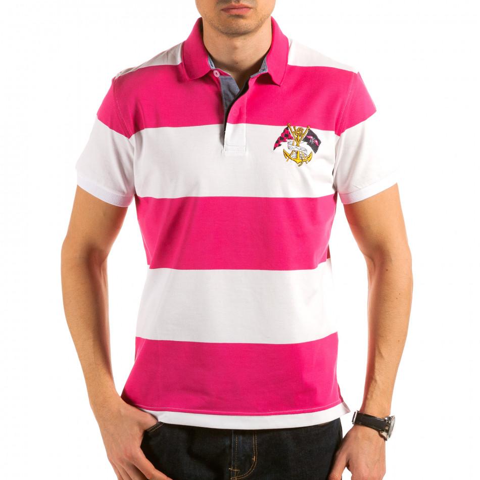 Tricou cu guler bărbați Ar-Ma roz il180215-114