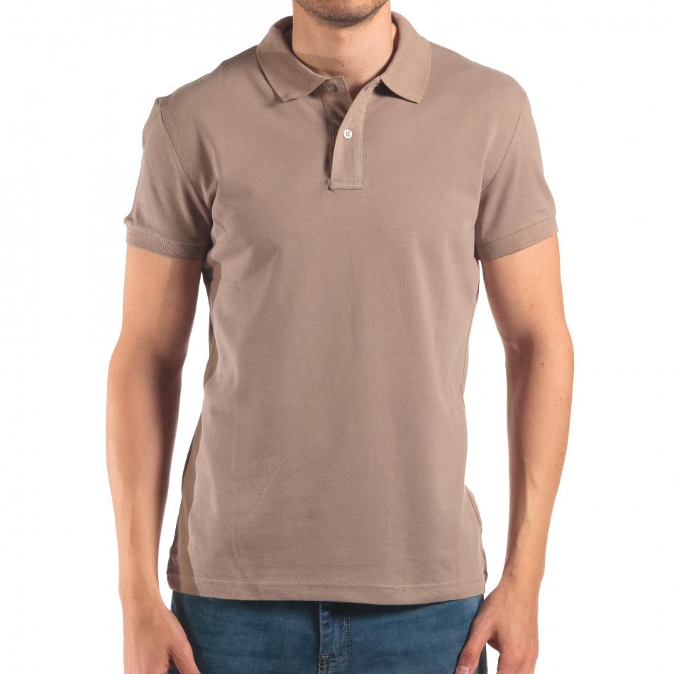 Tricou cu guler bărbați Bruno Leoni gri it150616-38
