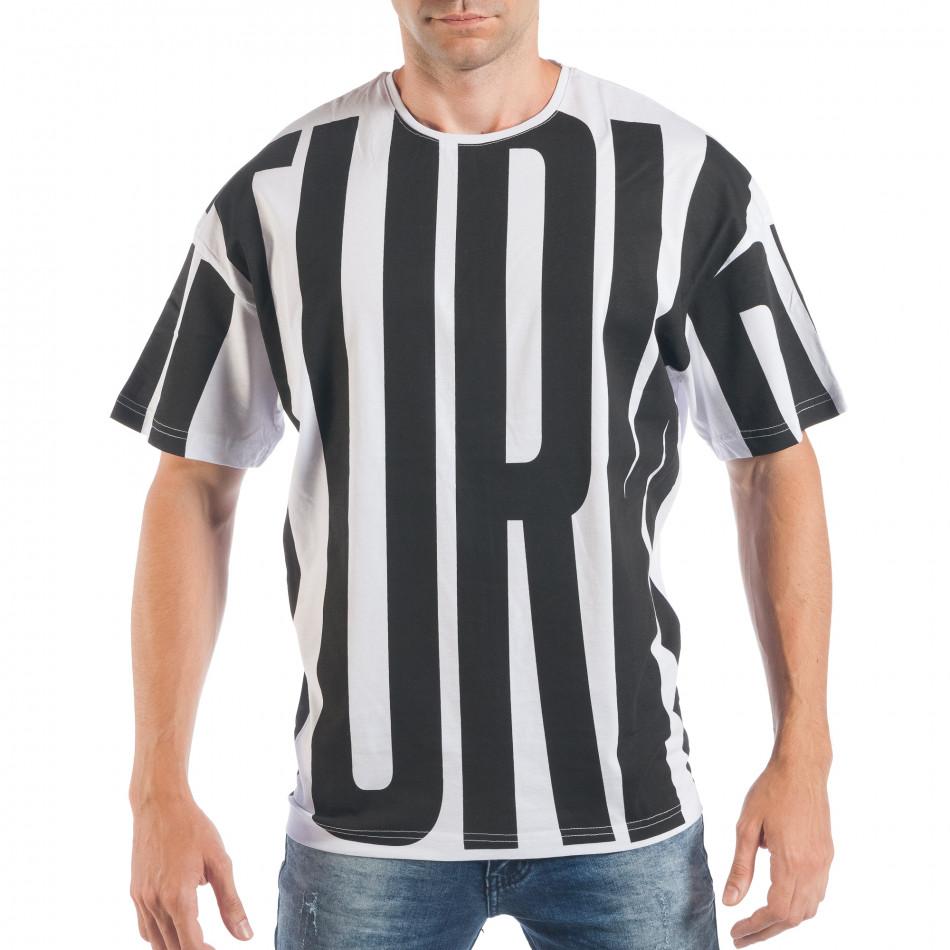 Tricou pentru bărbați în negru și alb tsf250518-4