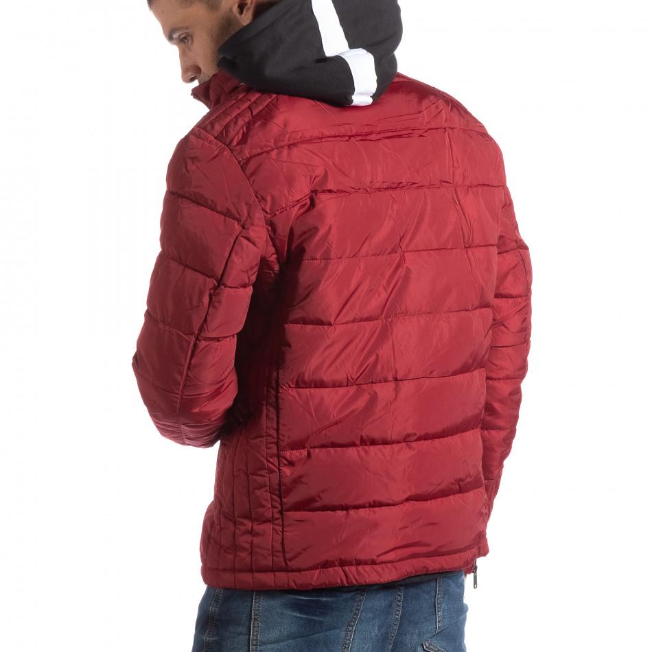 Geacă roșie pentru bărbați cu guler înalt it250918-84