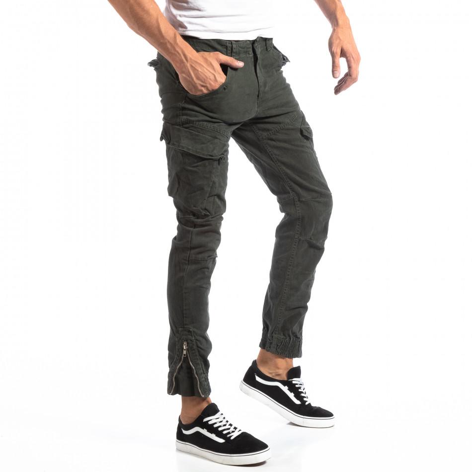 Pantaloni cargo verzi de bărbați cu fermoare la crac it250918-1