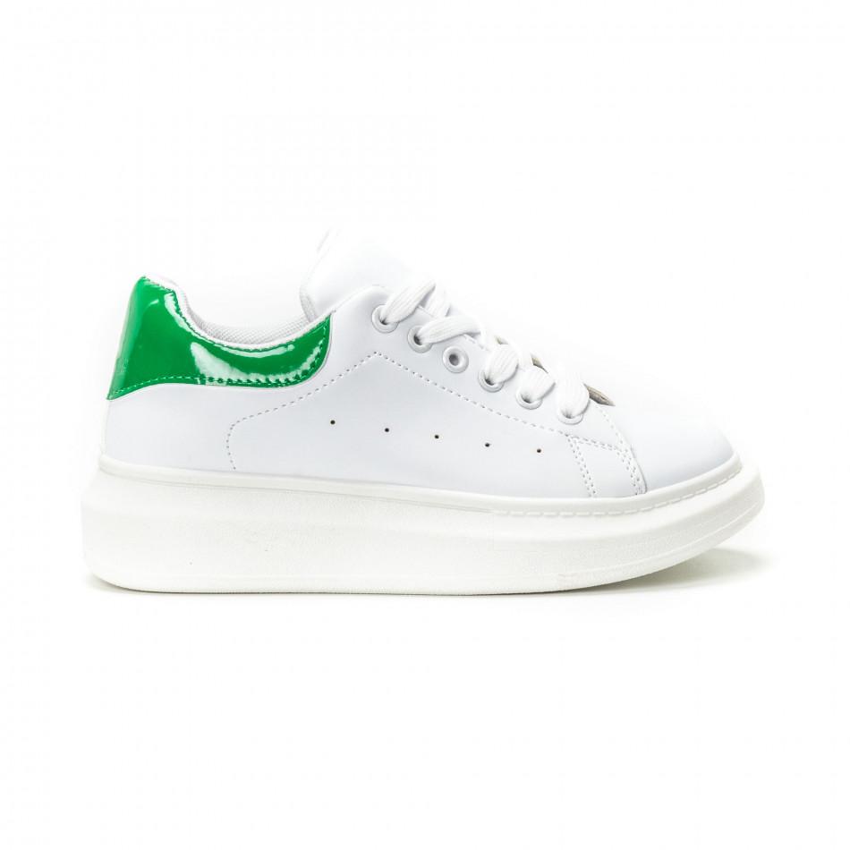Teniși de dama albi cu călcâi verde lăcuit it150818-35