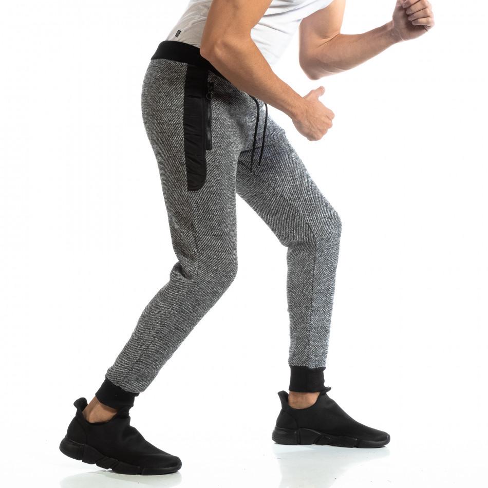 Pantaloni sport pentru bărbați în melanj negru-alb it261018-54
