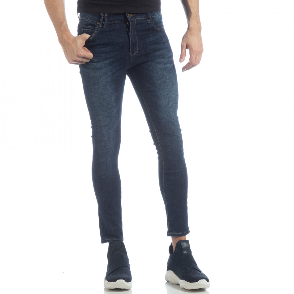 Skinny Jeans de bărbați model clasic albaștri it040219-8