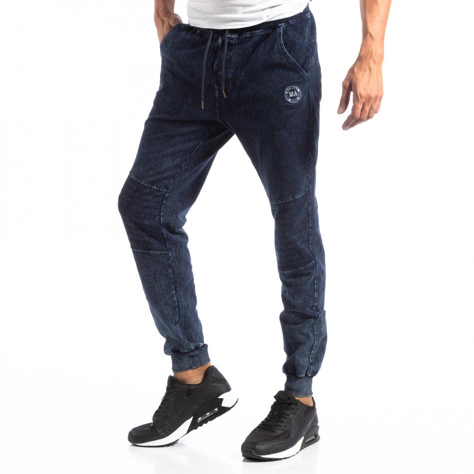 Biker Jogger pentru bărbați în culoare denim albastru it250918-44
