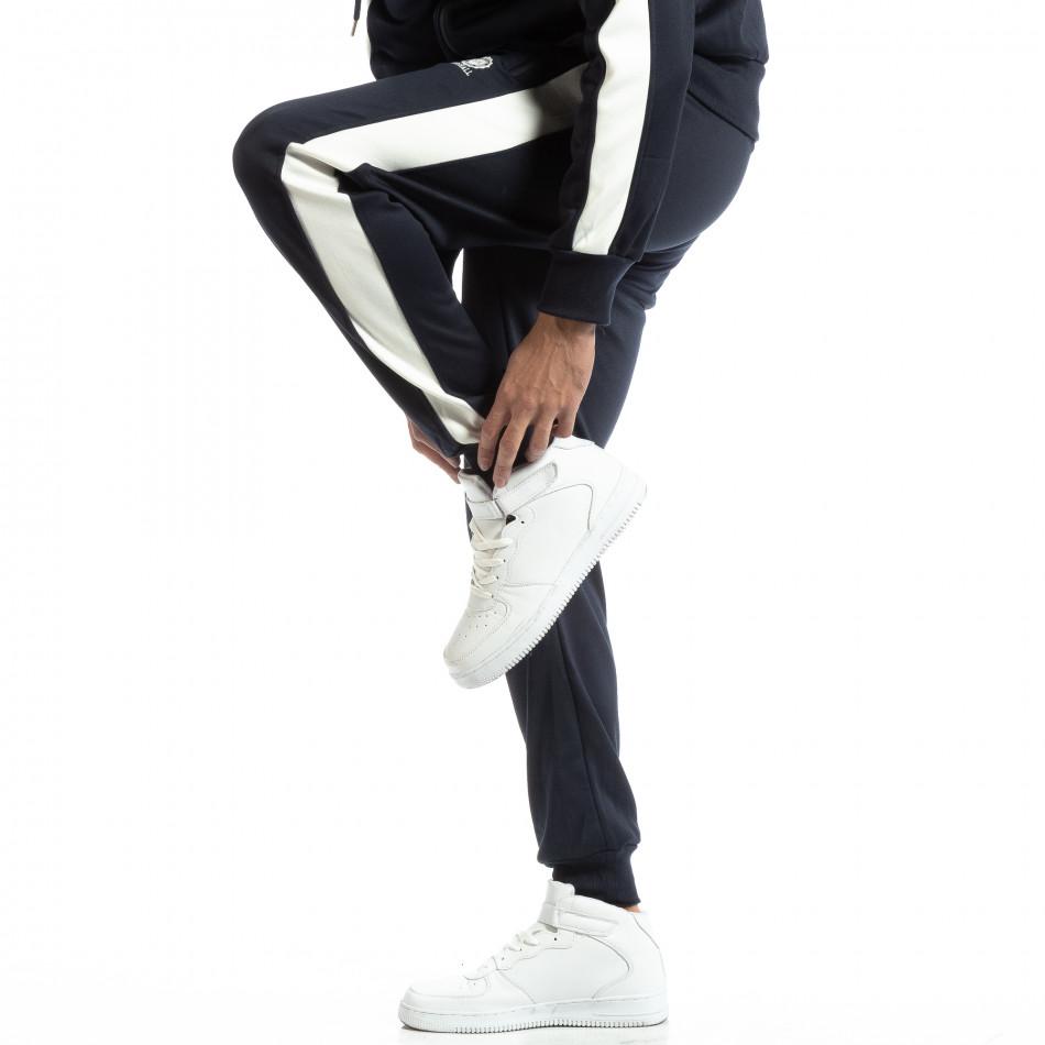 Pantaloni sport pentru bărbați albaștri cu benzi albe it261018-65