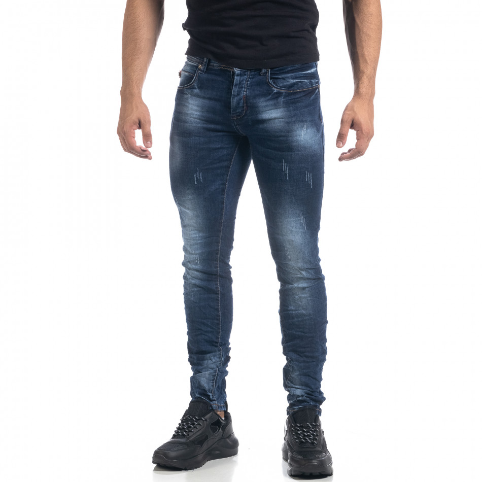 Blugi de bărbați albaștri cu efecte Fashion Slim fit it071119-14