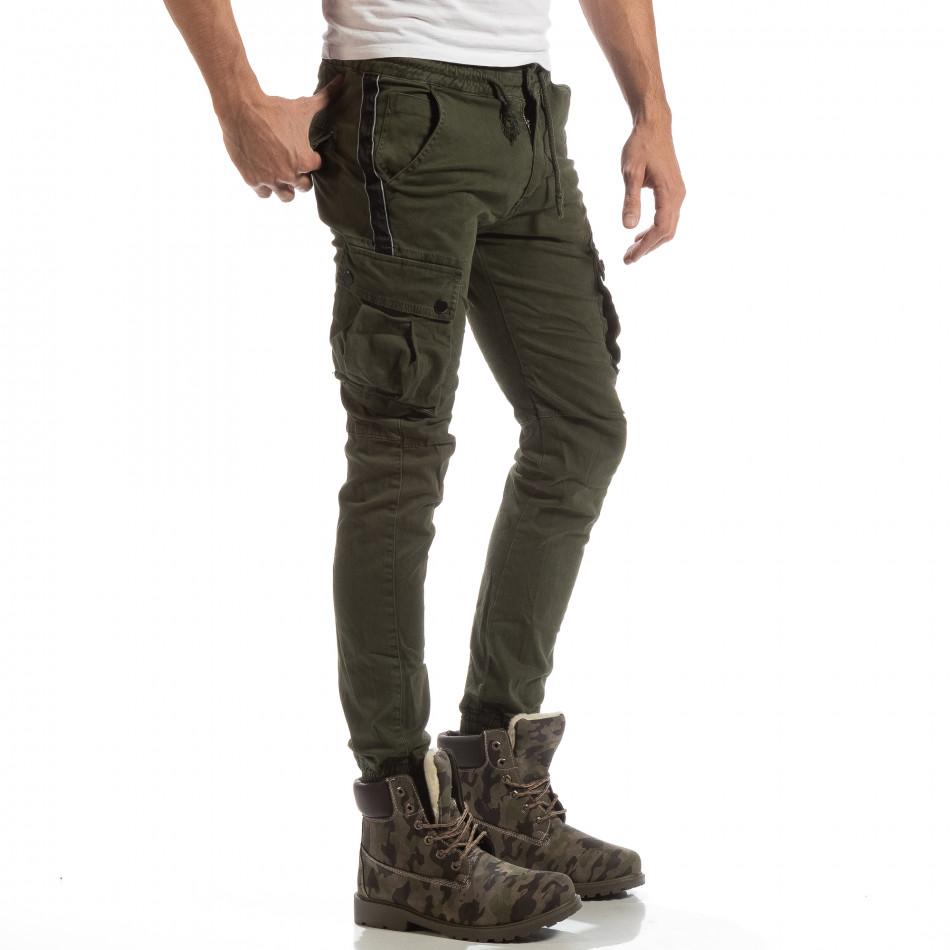 Cargo Jogger pentru bărbați verde cu banda it261018-28