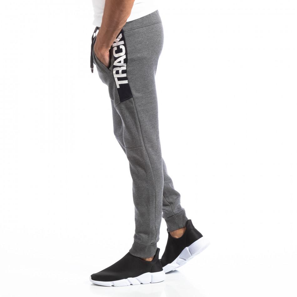 Pantaloni sport gri pentru bărbați Track Biker style it250918-54