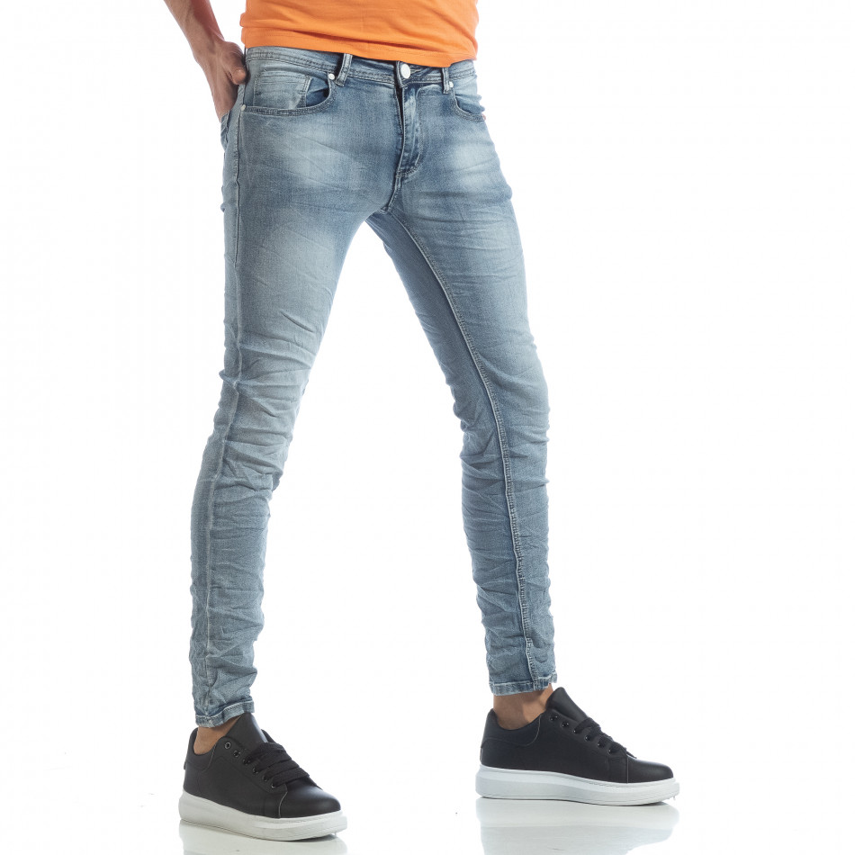 Washed Slim Jeans albaștri pentru bărbați it040219-13
