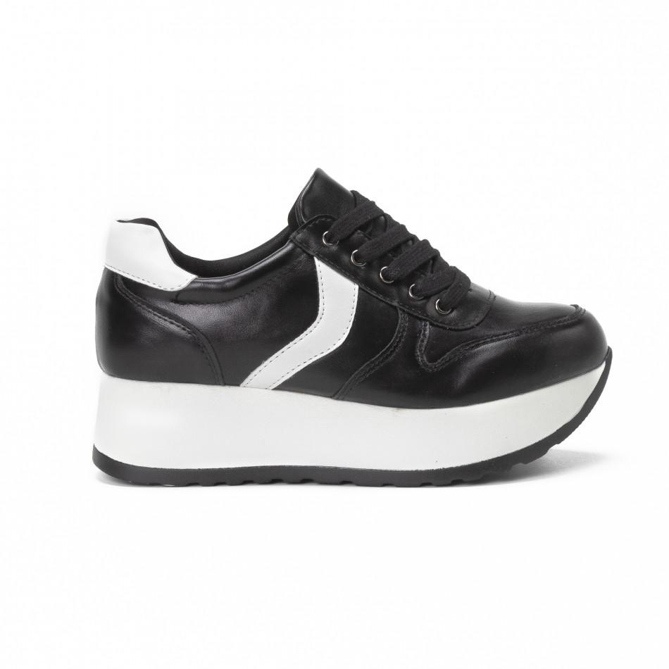 Pantofi sport cu platforma de dama în negru și alb it150818-79