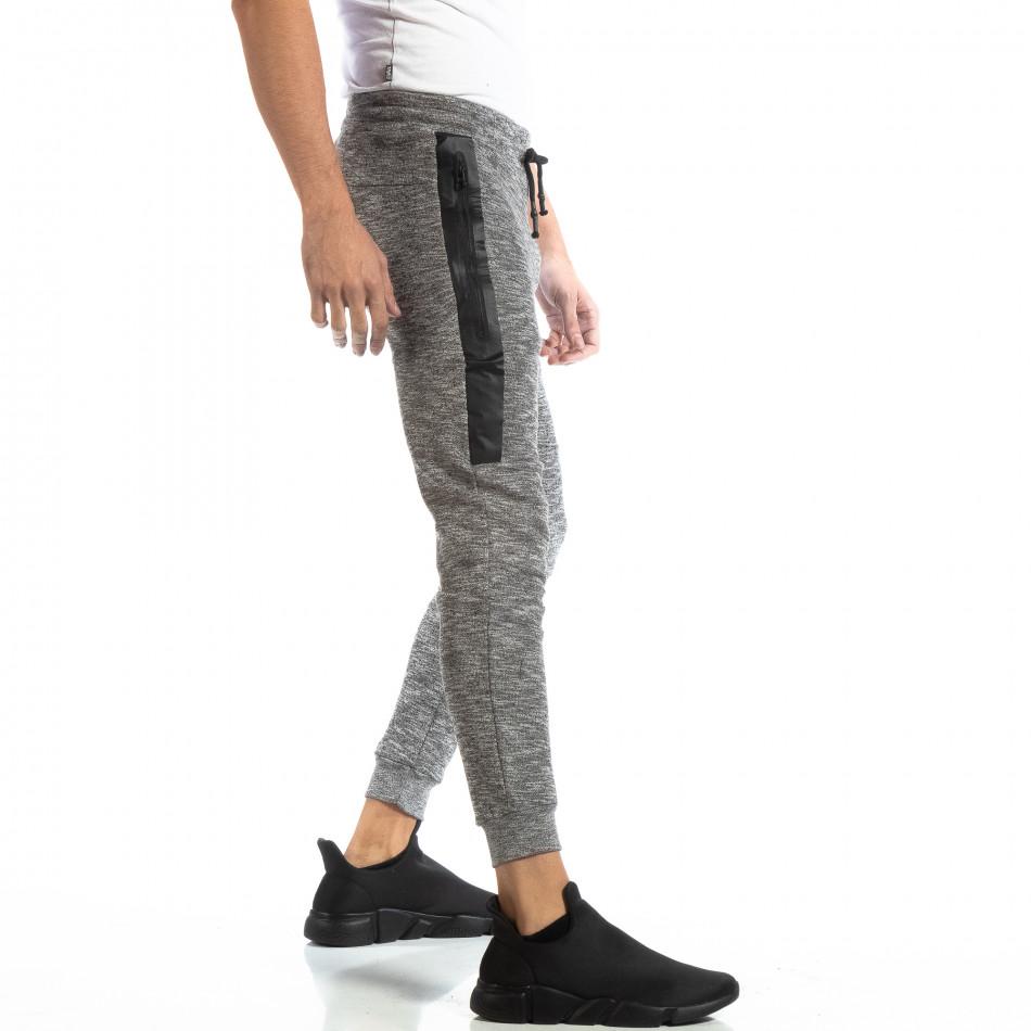 Jogger pentru bărbați din tricot în melanj gri it261018-36