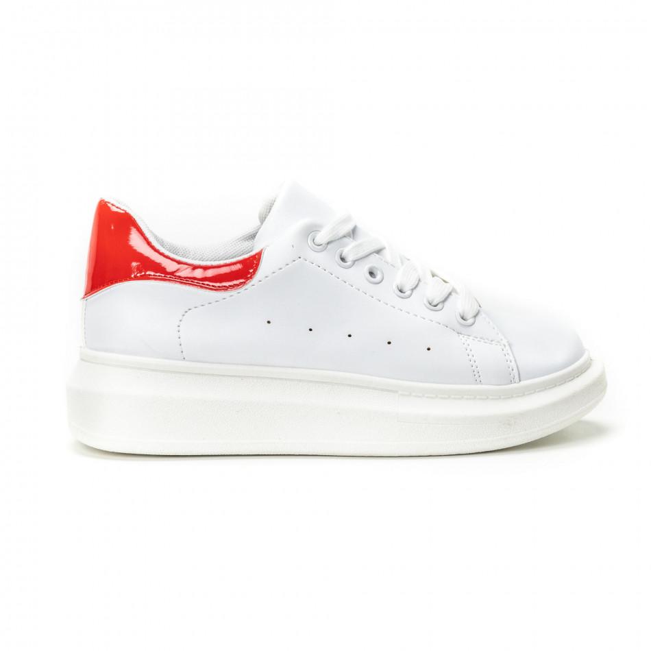 Teniși de dama albi cu călcâi roșu lăcuit it150818-36