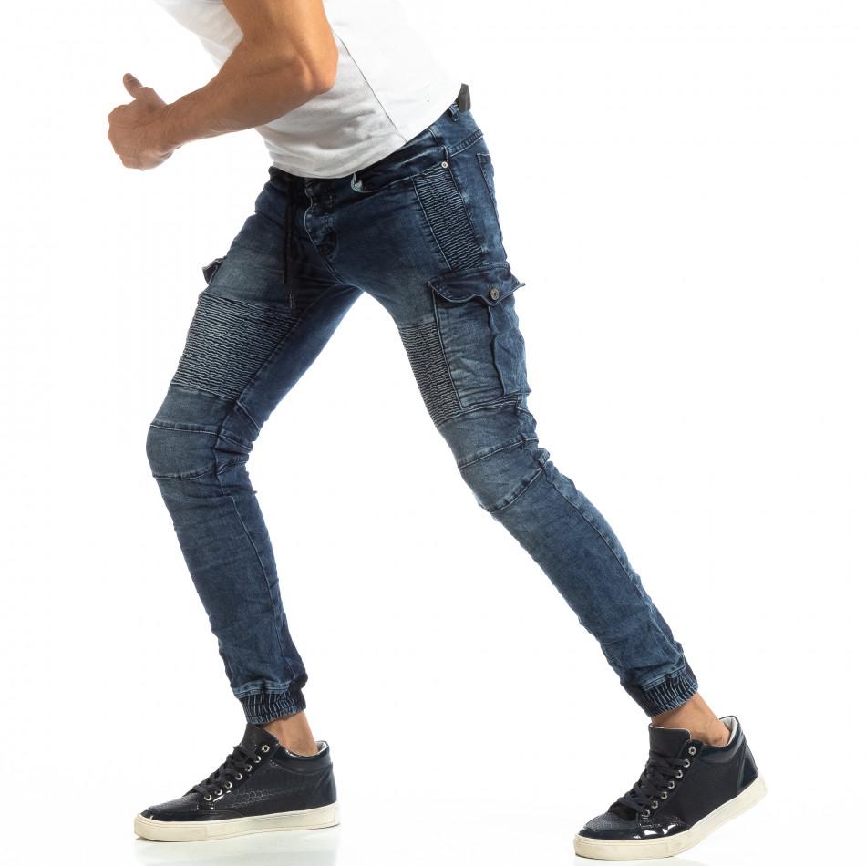 Cargo Jogger din denim albastru pentru bărbați it261018-3