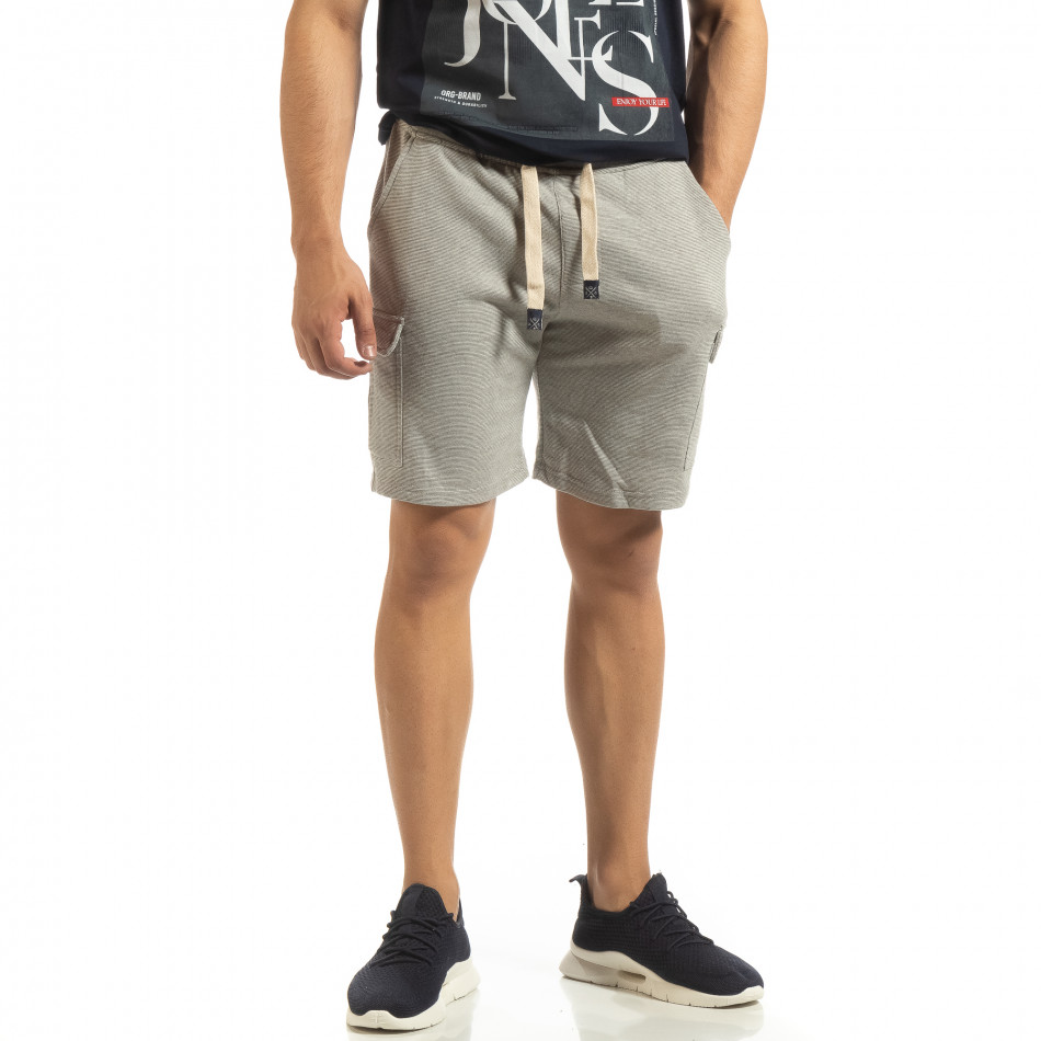 Șort cargo pentru bărbați din tricot gri cu dungi it090519-54