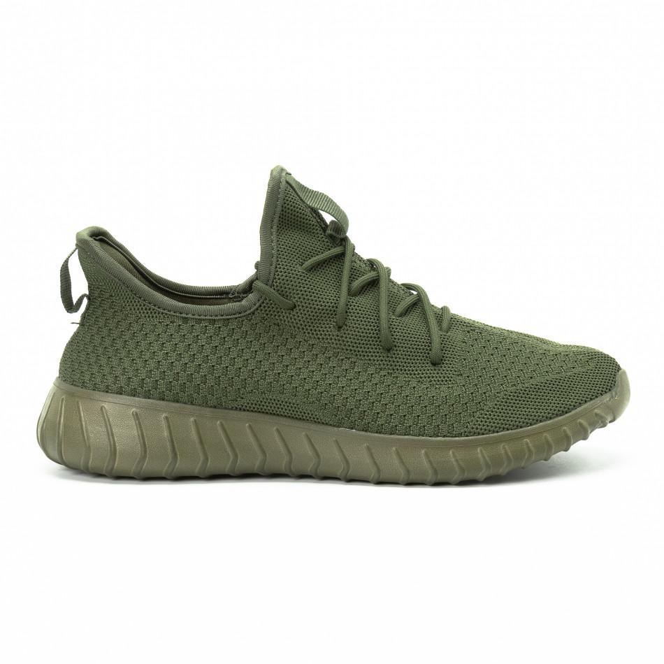 Adidași din material textil verde pentru bărbați model ușor it140918-13