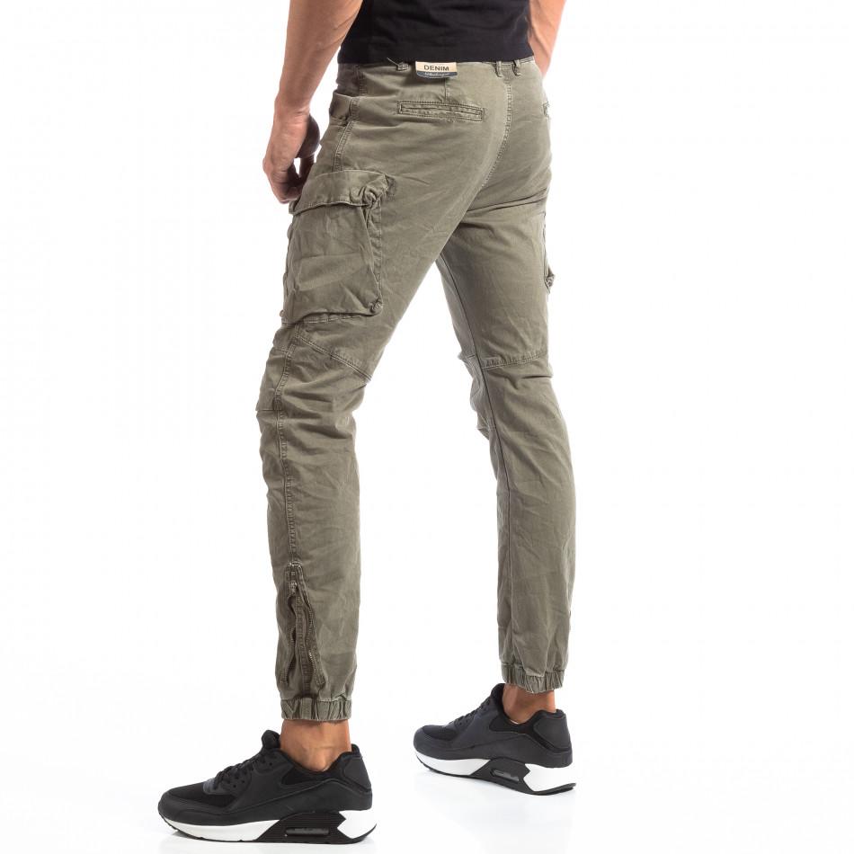 Pantaloni cargo verzi de bărbați cu fermoare la crac it260918-4