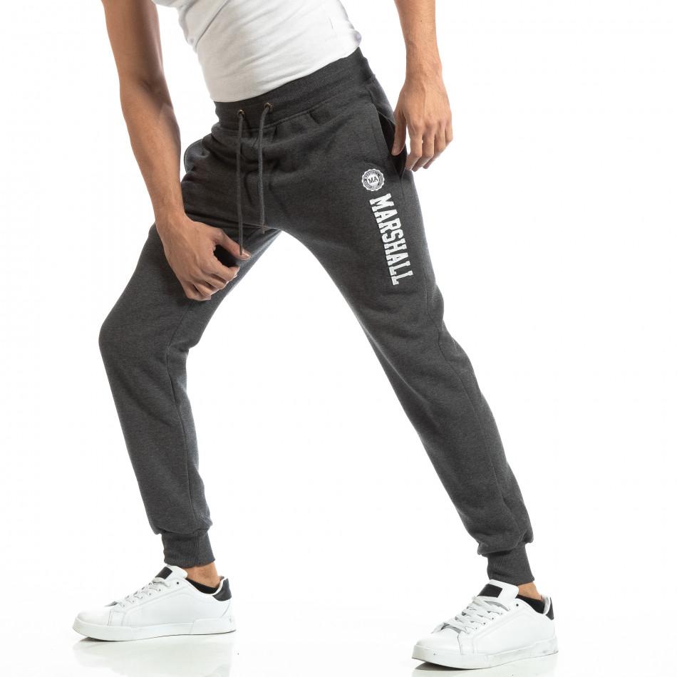 Pantaloni sport pentru bărbați gri cu inscripție it261018-44