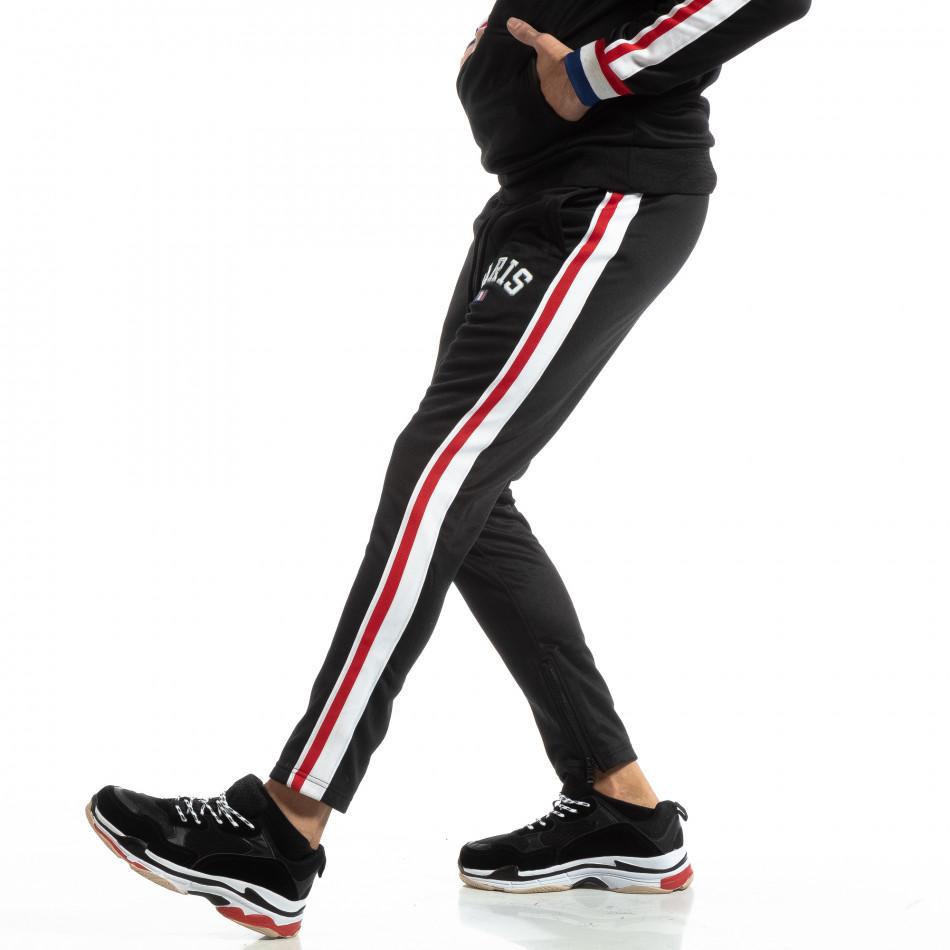 Pantaloni sport pentru bărbați Paris în negru it261018-62