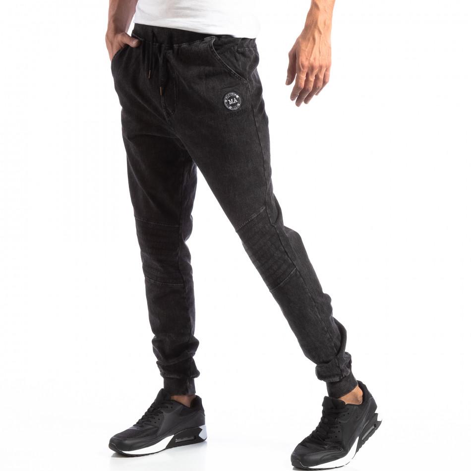 Biker Jogger pentru bărbați în culoare denim negru it250918-43