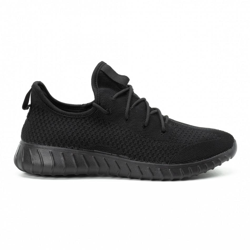 Adidași All black din material textil pentru bărbați model ușor it140918-10