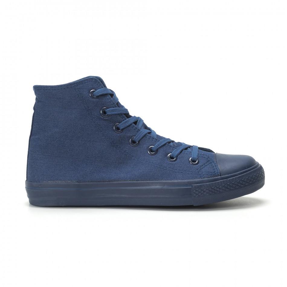 Teniși înalți în culoarea denim pentru bărbați it250119-2