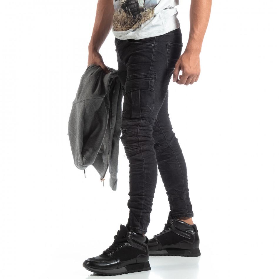 Cargo Jeans negri de bărbați stil rocker it170819-53
